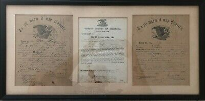 $265 • Buy Antique American Civil War Naturalization And Discharge Papers