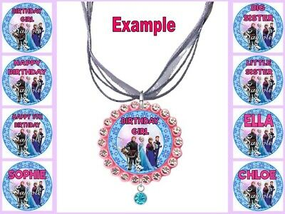 PERSONALISED FROZEN Any Name Message Childrens Custom Ribbon Necklace Anna Elsa • 4.34£