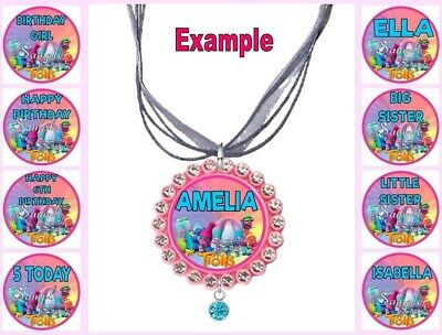 PERSONALISED TROLLS Any Name Message Childrens Custom Ribbon Necklace The Movie • 4.34£