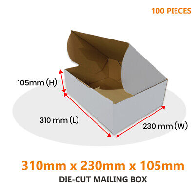AU74.95 • Buy 100x Die Cut Mailing Box 310 X 230 X 105 Mm Fit BX2 Extra Large Satchel Parcels