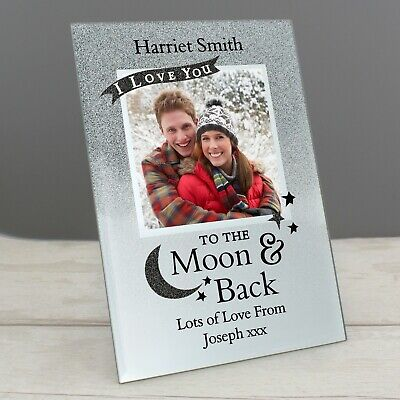 Personalised I LOVE YOU TO THE MOON AND BACK  4x4 Glass Picture Photo Frame • 14.95£