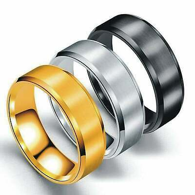 Titanium Steel Rings For Men Wedding Ring Cool Simple Band Engagement Gift 8mm • 3.99£