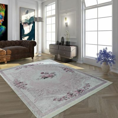 Traditional Rug Vintage Floral Carpet Flowers Roses Rugs French County Mats Pink • 175.99£