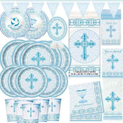 Boys 1st First Holy Communion Party Tableware Decorations Royal Blue Collection • 3.49£