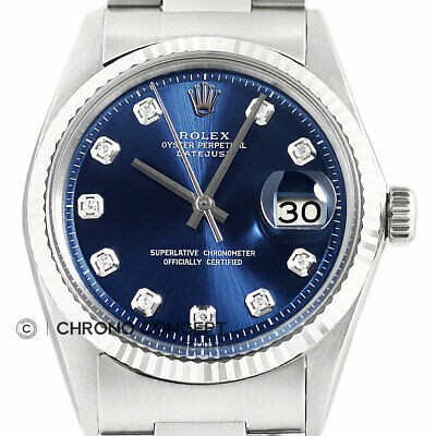 AU4902.96 • Buy Mens Rolex Datejust 18K White Gold & Stainless Steel Blue Diamond Dial Watch