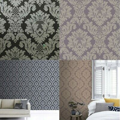 Arthouse Da Vinci Damask Wallpaper In Black 405107 & Heather 405102 • 7.99£