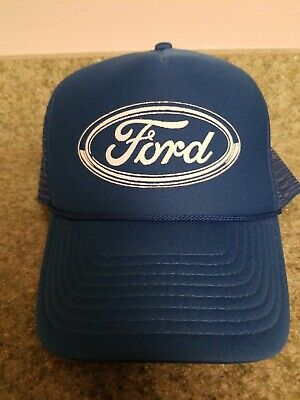 963ca75b Vintage Ford Mesh Blue Snap Back Trucker Hat Cap Ford Logo Nissin Cap (a)