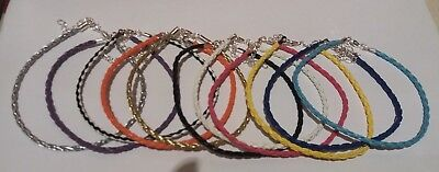 Braided Leather Anklet Ankle Bracelet - 16  Colours 10  + Ext - Buy 4 Get 1 Free • 1.89£