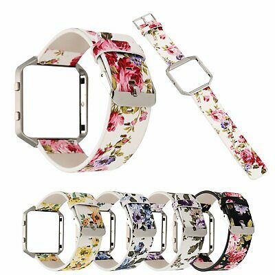 $ CDN24.39 • Buy Women Floral Watch Band For Fitbit Blaze Leather Wristband Strap W/ Metal Frame