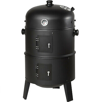 3in1 BBQ Barbecue Charcoal Smoker Grill With Temperature Display • 56.99£