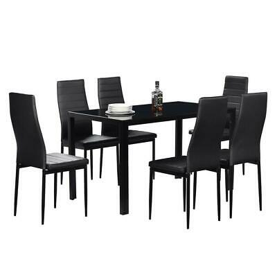 7 Piece Glass Dining Table Set 6 Leather Chairs Kitchen Room Breakfast Furnitur • 205.99$