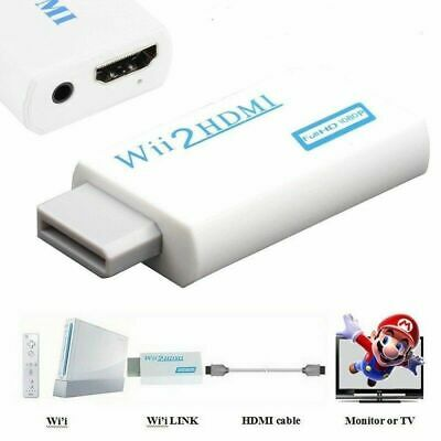 Wii Input To HDMI 1080P HD Audio Output Converter Adapter Cable 3.5mm Jack White • 3.95£