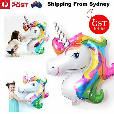 AU3.89 • Buy Huge Unicorn Foil Balloon 117cm Helium Fantasy Horse Birthday Kid Party Balloons