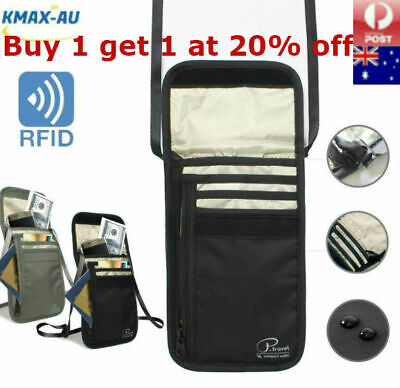 AU11.25 • Buy RFID Blocking Neck Stash Passport Card Wallet Holder Pouch Security Travel Bag