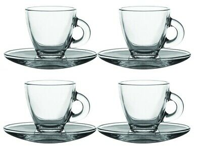 £11.98 • Buy 4 Glass Espresso Cups & Saucers Serving Set 8cl 80ml Coffee Shot Mugs