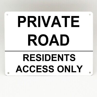 Private Road Sign Residents Access Only Simple Metal Rigid White Parking Plaque • 5.99£