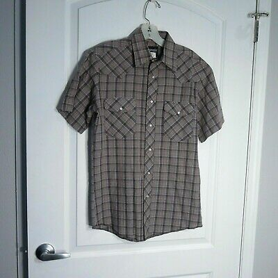 31c48d0f Mens Wrangler Western Pearl Snap Shirt Short Sleeve Grey Plaid Size S •  9.95$