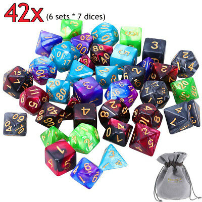 AU20.79 • Buy 6set 42pcs Polyhedral Dice DND RPG Game Poker Card Dungeons Dragons Part & Bag