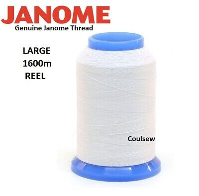 JANOME Sewing Machine WHITE EMBROIDERY BOBBIN THREAD 1600m - LARGE REEL • 13.75£