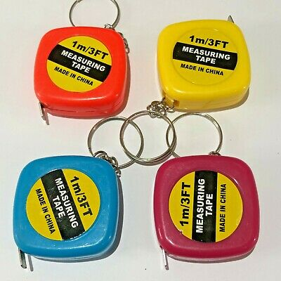 1m Mini Tape Measure Keyring 3ft Colourful Measuring Ruler Keychain Retractable • 1.99£