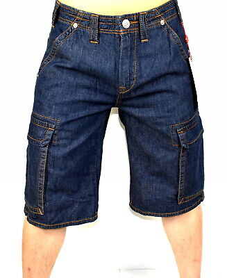 True Religion Brand Jeans Men's Deep Indigo Denim Cargo Shorts - 102023 • 61.87£