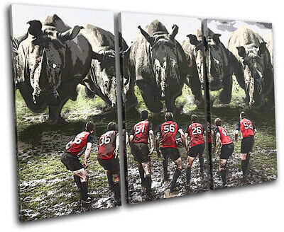 £49.99 • Buy Rugby League Funny Rhino Union Sports TREBLE CANVAS WALL ART Picture Print