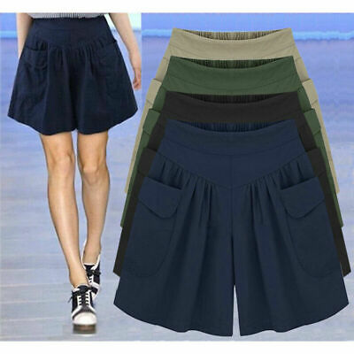 Plus Size Womens Skort Baggy Wide Leg Skirts Ladies Casual Shorts Pants UK 6-20 • 6.99£