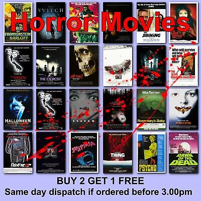 Classic Horror Movie Posters Film Poster 125 Titles HD Borderless Printing • 6.37£