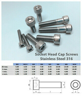 AU9.80 • Buy M3 M4 M5 M6 M8 Socket Screw Cap Head Stainless Steel  316