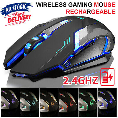 AU17.99 • Buy 2.4GHz Gaming Mouse USB LED Light Optical Ergonomic Rechargeable Wireless