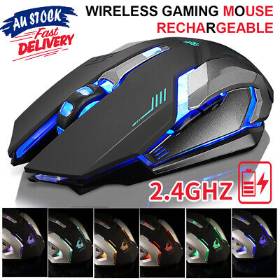 AU18.70 • Buy 2.4GHz Gaming Mouse USB LED Light Optical Ergonomic Rechargeable Wireless