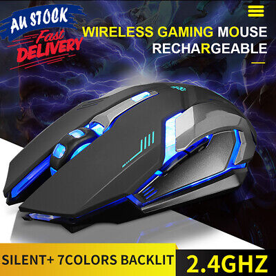 AU18.70 • Buy 2.4GHz Gaming Mouse Ergonomic USB Wireless Rechargeable LED Light Optical