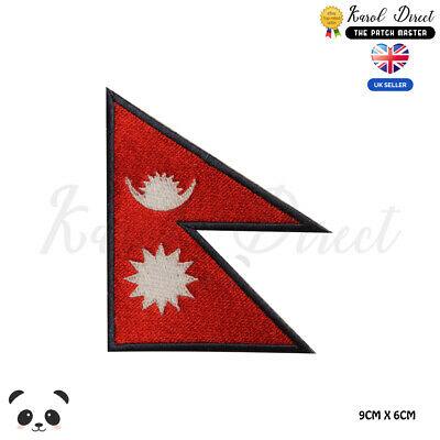 NEPAL National Flag Embroidered Iron On Sew On Patch Badge For Clothes Etc • 1.99£