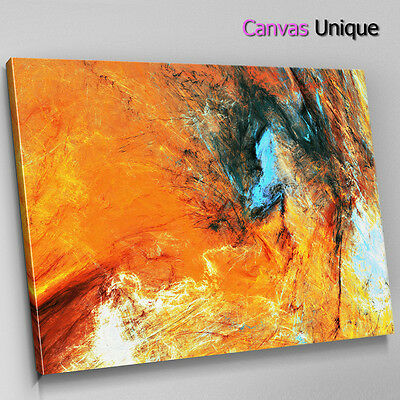 AB1497 Orange Blue Modern Large Abstract Canvas Wall Art Framed Picture Print • 9.99£