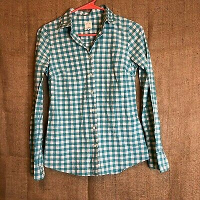 087a1f460477f0 J Crew The Perfect Shirt Womens Button Front Size 00 100% Cotton Plaid Blue  G20