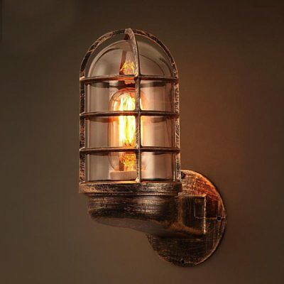 Vintage Industrial Wall Light Sconce Iron Lantern Rustic Copper Steampunk Lamp • 19.50£