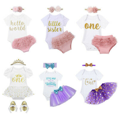 AU15.86 • Buy Newborn Baby Girl Tutu Dress Outfit 1st Birthday Cake Smash Party Romper Clothes