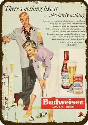 $ CDN30.37 • Buy 1949 BUDWEISER BEER Vintage Look DECORATIVE METAL SIGN - MAN & WOMAN PLAY CROQUE