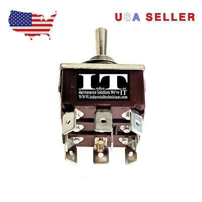 IndusTec E-TEN303 KN3C-303 9 .250 Pin TPDT Maintained 3 Position Toggle Switch • 6.99$