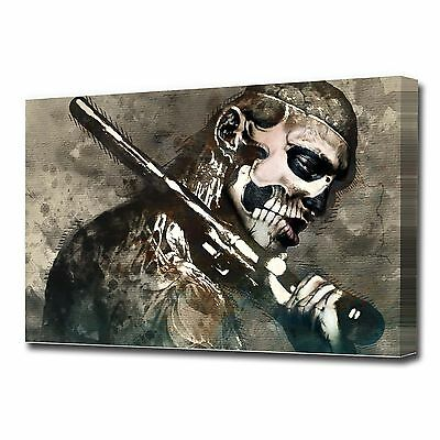 Large Skull Man Canvas Print Ez1324 • 24.99£