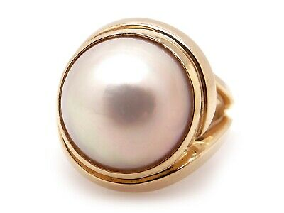 $650 • Buy 14k Yellow Gold 14mm White Mabe Pearl Solitaire Cocktail Ring Size 8.25