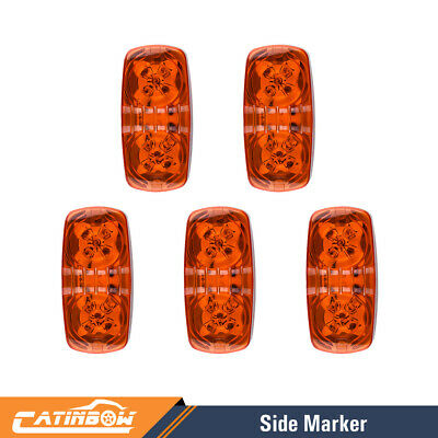 5X Amber LED Clearance Side Marker Double Bullseye Light 10 Diodses Trailer RV • 12.89$