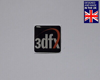 3DFX 25 X 25mm 1  Domed PC Case Badge Logo Decal Rush Banshee Voodoo BLACK • 3.75£