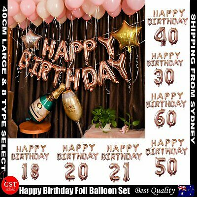 AU3.59 • Buy Rose Gold Happy Birthday Foil Balloon Set Letter Party Decoration Banner Bunting