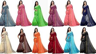 Designer Saree Pakistani Indian Cotton Silk Party Wear Sari Kanjivaram New PT • 9.99£