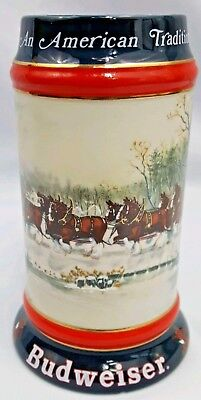 $ CDN25.36 • Buy 1990 Budweiser Beer Stein An American Tradition Clydesdale Horses Wagon Sampson