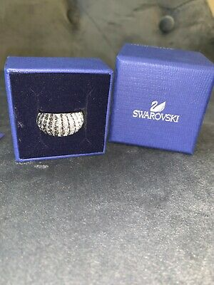 56d71e531 Swarovski Luxury Dome Ring Silver And Grey Size 55 US 7 • 30.00$