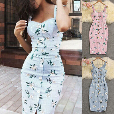 AU13.24 • Buy Summer Women Bandage Sleeveless Bodycon Dress Floral Evening Party Gown Dresses