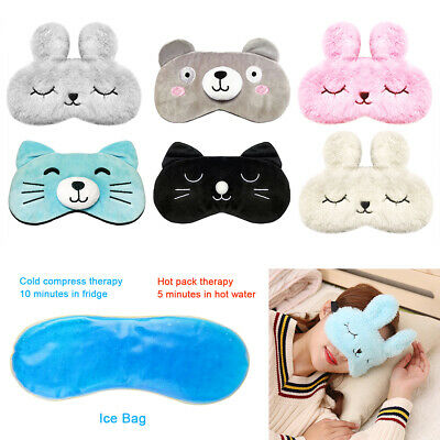 AU8.85 • Buy Cute Eye Sleep Mask Cover Rest Travel Relax Sleeping Blindfold Cooling Pad