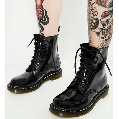 Womens Ladies Ankle Boots Lace Up Flat Shoes Army Worker Grunge Goth Thick Sole • 19.99£